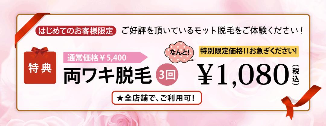 泉佐野・泉南のサロン脱毛3回1080円