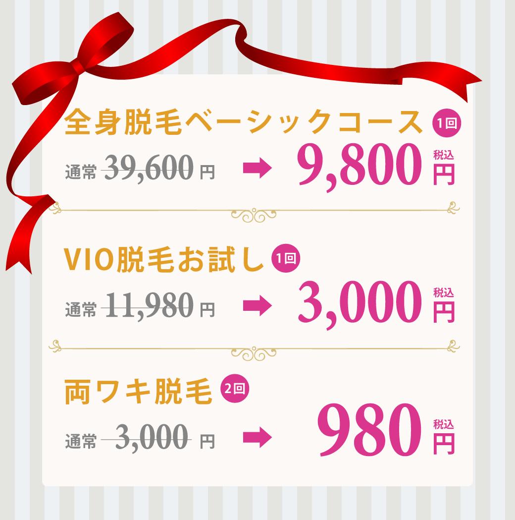 泉佐野・泉南のサロン脱毛2回980円